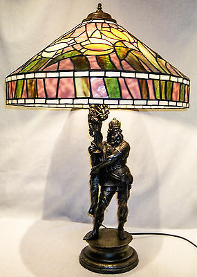Large Antique Newell Post Spelter Statue Lamp of Medievel Warrior Viking