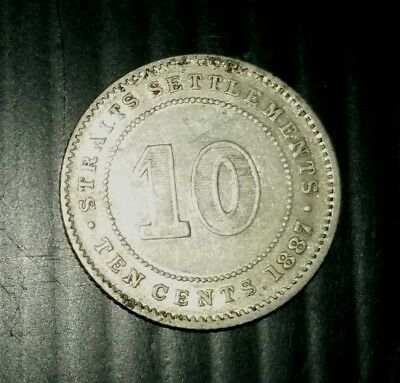 Straits Settlements 1887 10 Cent High Grade Silver Coin.