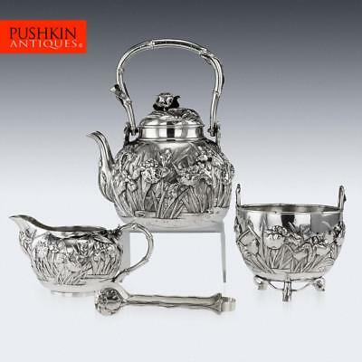 ANTIQUE 20THC JAPANESE SOLID SILVER TEA SET, YOKOHAMA, KONOIKE c.1900