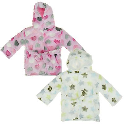 Baby Boys Girls Heart/Star Print Soft Warm Robe Nightwear Hooded Dressing Gown