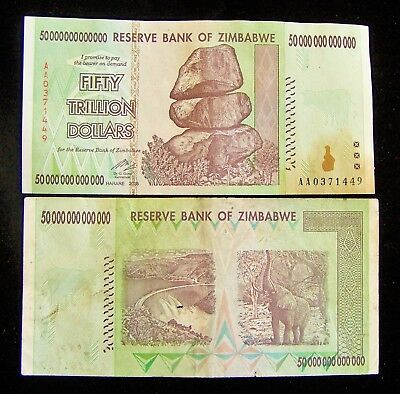 1 x Zimbabwe 50 Trillion Dollar banknote/AA/2008-collectible currency