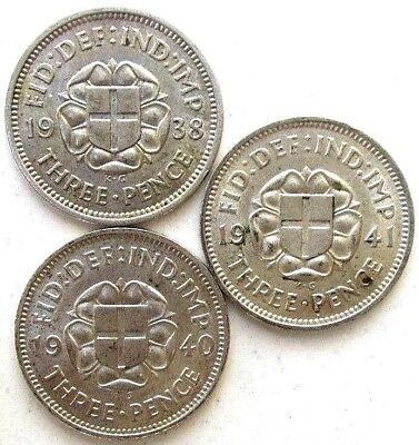 Great Britain Uk Coins, Threepence 1938 & 1940 & 1941, George Vi, Silver 0.500 .