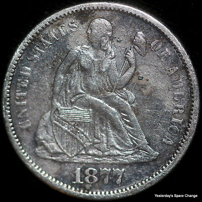 1877-S Nice Grade Seated Liberty Silver Dime!!