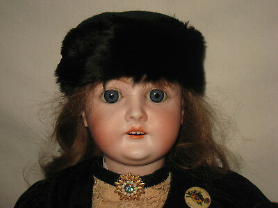"Antique 22"" Heinrich Handwerck Bisque Socket Head Doll MB8"
