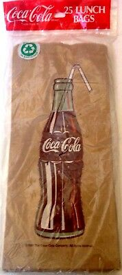 Coca-Cola Brown Paper Lunch Bags New 1991 Factory Sealed 25 Pac Coke Bottle