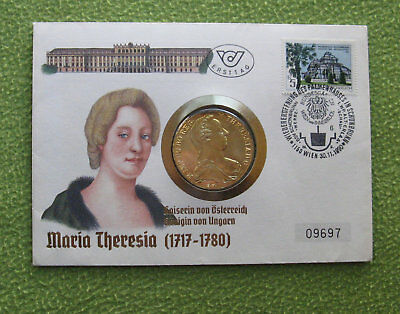 070840b+ NUMIS - BRIEF  1990  MARIA  THERESIA  TALER  vergoldet