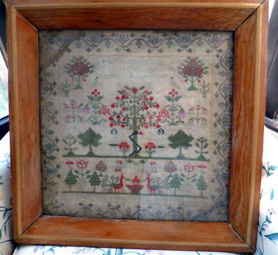 "RARE Early 1800s ADAM & EVE LARGE SAMPLER ""Thou Shall Not"" Peacocks"