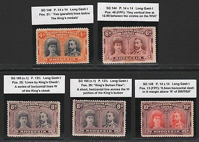 RHODESIA 1910 DOUBLE HEADS TO 10d.  M/MINT (5 x  PLATED STAMPS)   -   ODD FAULT