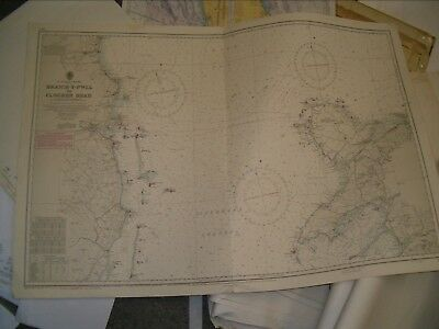 Vintage Admiralty Chart 1411 SAINT GEORGE'S CHANNEL 1954 edn