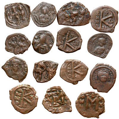 Lot Of 15 Byzantine Bronze Coins-Top Quality-Uncertain