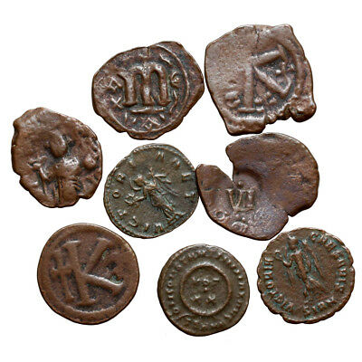 Lot Of 8 Roman & Byzantine Bronze Coins-Uncertain Coins