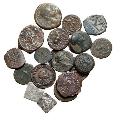 Lot Of 20 Ancient Greek Roman Byzantine And Islamic Bronze & Silver Coins