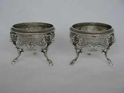 Pair of Antique Spaulding Sterling Condiment Pots with Ram's Heads