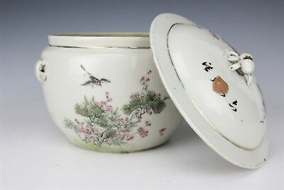 Chinese Export Porcelain Famille Rose Covered Pot with Lid Character Mark NR SMS
