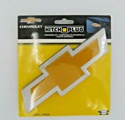 """NEW Chevrolet Chevy Bowtie Style Brushed Aluminum Hitch Plug Fits 2"""" & 1.25"""""""