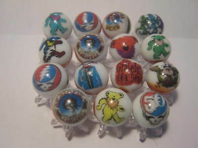 Grateful Dead GLASS MARBLES 5/8 SIZE collection lot & STANDS