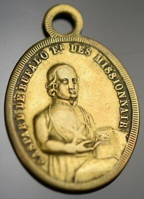 Saint Gaspar del Bufalo Antique Medal Pendant 1850 Missionaries Precious Blood