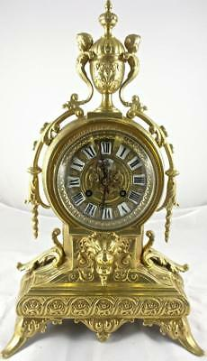 Lovely Antique 19th c French Solid Gilt Bronze 8 Day Bell Striking Mantle Clock