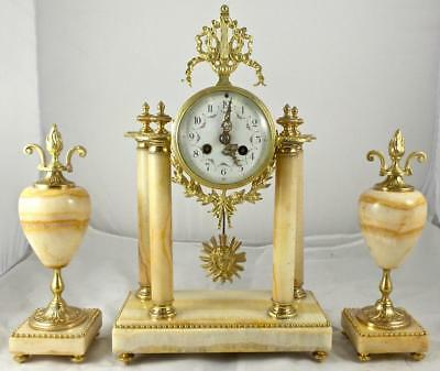 Antique 1855 French  Vincenti Gilt Bronze & Marble Portico 8day Mantel Clock Set