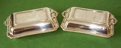 ANTIQUE SILVER PLATED SERVING DISHES & COVERS TUREENS MATCHING PAIR circa 1900