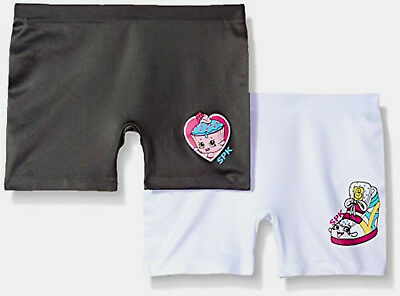 NEW Girls Shopkins 2 Pk Seamless Play Short Boyshort Underwear M 8-10