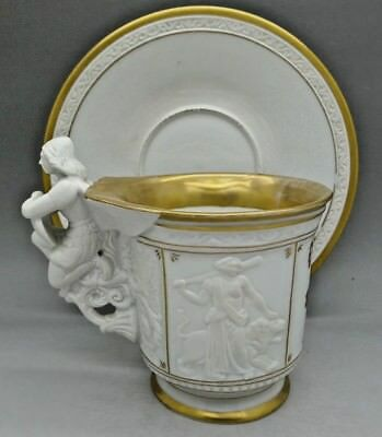 KPM Rare Greek Scenes Winged Angel Gold Cup & Saucer c.1860 AUCTION NO RESERVE