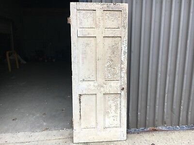 """c1820 raised six panel door old paint mortised & pegged 80"""" high x 32"""" wide"""