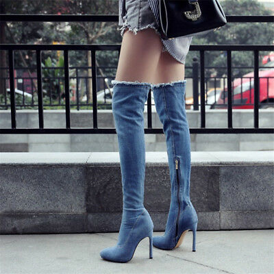 Women Sexy Denim Over The Knee Thigh High Boots Pointed Toe Stilettos Club Shoes