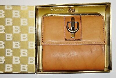 "Vtg 70s BUXTON Genuine Leather ""French Purse"" Wallet Buckle Trim Brn~NEW in BOX!"