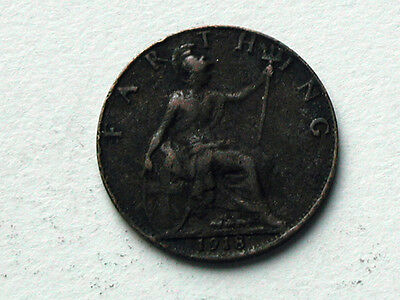 UK (Great Britain) 1918 FARTHING King George V British Coin - Dirty/Corrosion