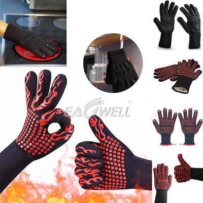 Hot 932℉ Extreme Heat Resistant Gloves Rubber BBQ Grilling Cooking Oven Gloves