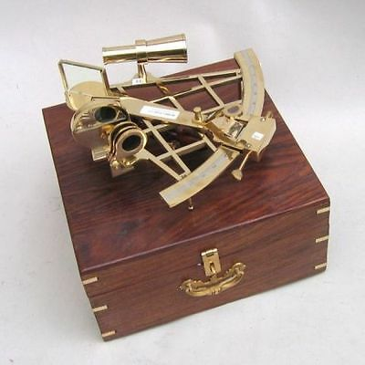"""10"""" Brass Sextant With Wooden Box-Nautical Maritime"""