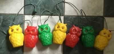 Vintage Plastic Mold 7 Figural Owls Party Patio Rv