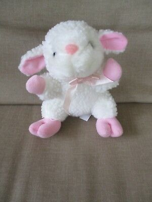 "White Lamb /Sheep Fleece Look-Pink Hooves,Bow,Nose in ears 6""Tall Plush Stuffed"