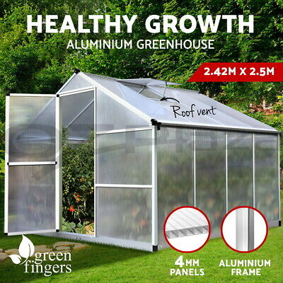 2.42x1.9M Polycarbonate Aluminium  Greenhouse with Base Frame Garden Grow shed