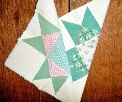 Antique Vintage Lot of 2 OHIO STAR Quilt Blocks  c.1920's