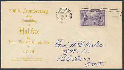 1949 #283 Halifax Bicentenary FDC, Unusual Gold Text Cachet, Peterborough Ont