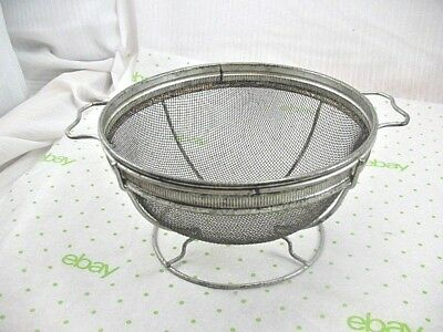 OLD Antique Primitive Country Kitchen Wire Colander Strainer ~32B8