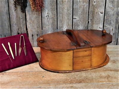 Rare Antique Unique Oval Bent Wood Shaker Sewing Box + Carved Tools AAFA