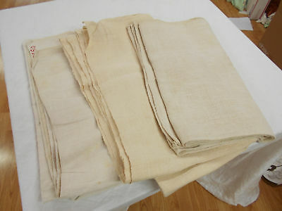 LOT of 3 Vtg Antique HEMP LINEN GRAIN BAG Fabric SHEETS BLANKETS QUILTS 7 yd