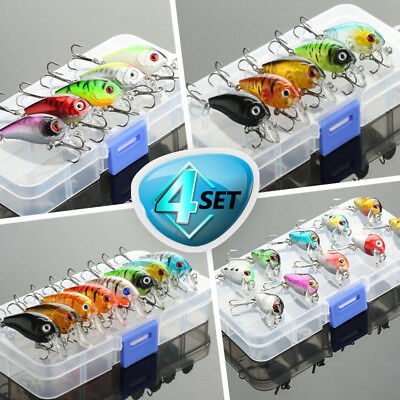 Minnow Fishing Lures Bass Crankbait Hooks Tackle Crank Baits + Fishing Box