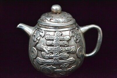 Collectible Old tibet Silver Statue longevity HANDWORK rare chinese Teapot