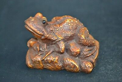 Collectible Old boxWood Carved chinese handwork frog rare Statue netsuke