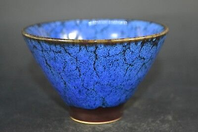old Chinese Antique Porcelain handwork blue glazed clored usable cup Bowl