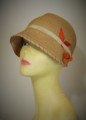 RARE FRENCH 1920s SISAL CLOCHE HAT STYLISH AND GREAT VINTAGE CONDITION
