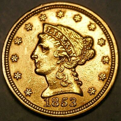 1853 Liberty Head $2.5 Gold Quarter Eagle Higher Quality Scarce Check Store 4Mor