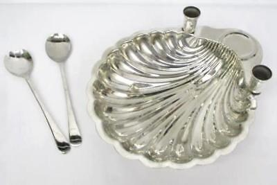 VTG Leonard Silver Clam Shell Serving Dish Candle Holders Sheffield Salad Tongs