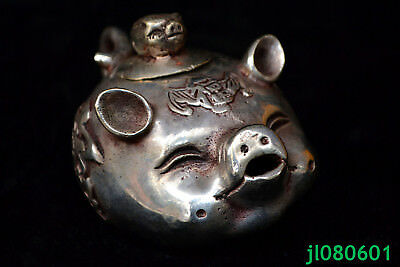 chinese old Antique lovely tibet silver pig god pout handwork Statue rare teapot