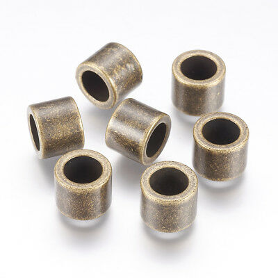 5 x Antique Bronze 304 Stainless Steel Large Hole Column Beads 10x8mm Hole 6.5mm