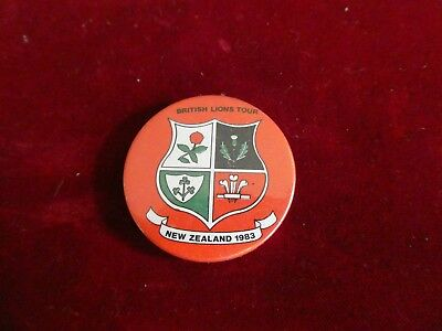 British Lions Rugby Tour New Zealand 1983 Tin Badge .
